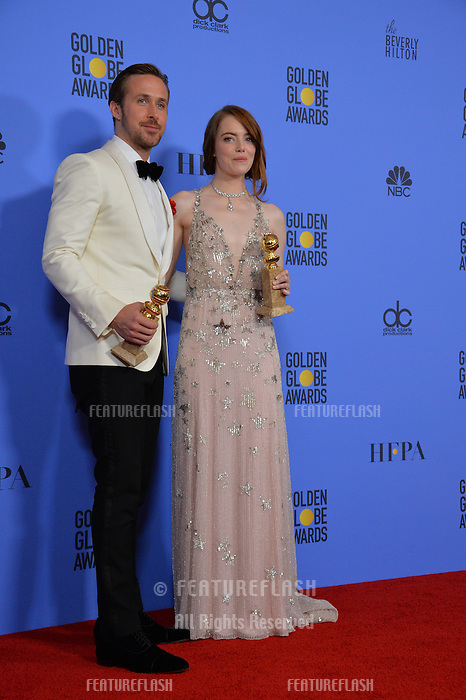 Emma Stone &amp; Ryan Gosling at the 74th Golden Globe Awards  at The Beverly Hilton Hotel, Los Angeles USA 8th January  2017<br /> Picture: Paul Smith/Featureflash/SilverHub 0208 004 5359 sales@silverhubmedia.com