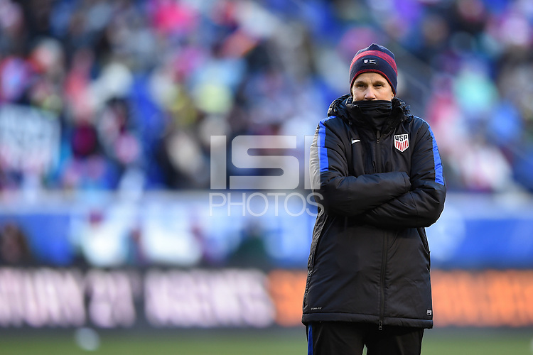Harrison, NJ - Saturday, March 04, 2017: Jill Ellis prior to a SheBelieves Cup match between the women's national teams of the United States (USA) and England (ENG) at Red Bull Arena.