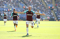 West Ham United's Mark Noble celebrates scoring his side's second goal <br /> <br /> Photographer Rob Newell/CameraSport<br /> <br /> The Premier League - Leicester City v West Ham United - Saturday 5th May 2018 - King Power Stadium - Leicester<br /> <br /> World Copyright &copy; 2018 CameraSport. All rights reserved. 43 Linden Ave. Countesthorpe. Leicester. England. LE8 5PG - Tel: +44 (0) 116 277 4147 - admin@camerasport.com - www.camerasport.com
