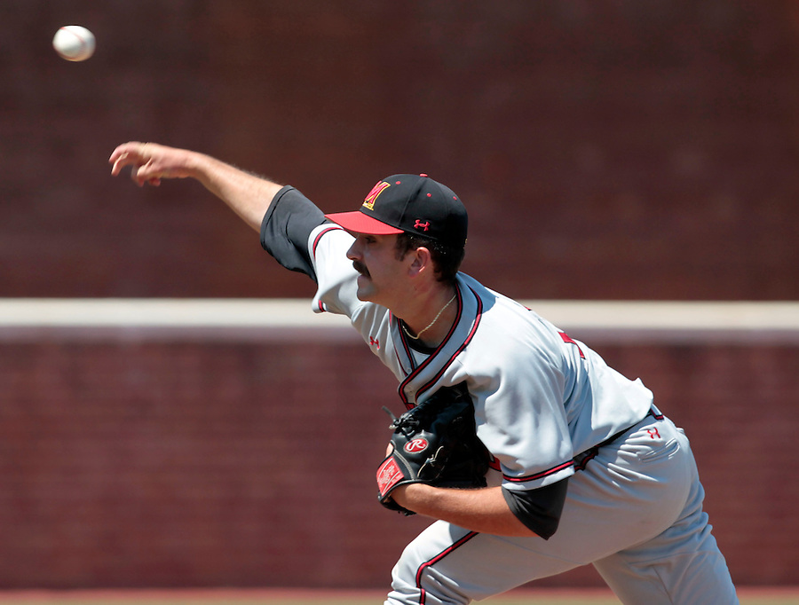 Maryland pitcher Bobby Ruse (29) throws a pitch in the seventh inning of an NCAA college baseball tournament super regional game against Virginia in Charlottesville, Va., Saturday, June 7, 2014. Maryland defeated Virginia 5-4. (AP Photo/Andrew Shurtleff)