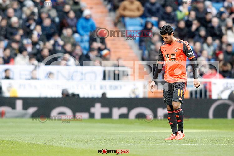 Real Sociedad's Carlos Vela injured during La Liga match.January 31,2015. (ALTERPHOTOS/Acero) /NortePhoto<br /> /NortePhoto.com