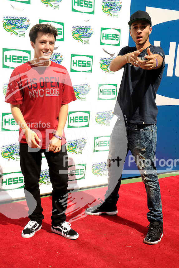 Myles Parrish and Kalin White of Kalynand Myles attending Arthur Ashe Kids Day 2015 at the US Open at USTA Billie Jean King National Tennis Center on August 29, 2015 in New York City