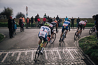 off the cobbled climb, straight into a smoothly paved descent<br /> <br /> 51th Le Samyn 2019 <br /> Quaregnon to Dour (BEL): 200km<br /> <br /> ©kramon
