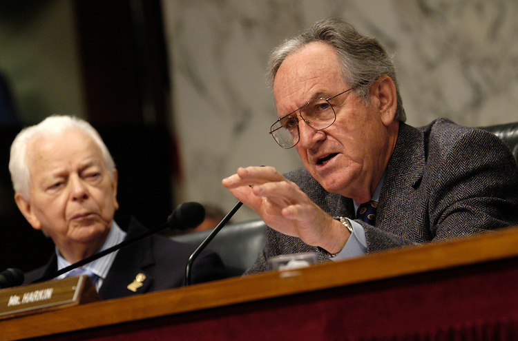 Sen. Robert Byrd, D-WV, watches Sen. Tom Harkin, D-Ia., speak at an Appropriations Labor, Health and Human Services, Education and Related Agencies subcommittee hearing on the Sago Mine disaster and overview of mine safety...