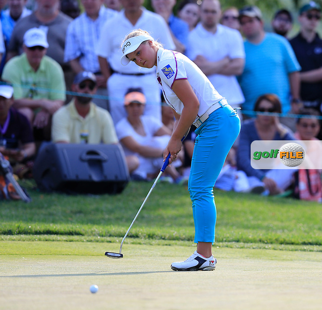 Brooke Henderson (CAN) putts on the 18th green during Sunday's Final Round of the 2015 KPMG Women's PGA Championship held at Westchester Country Club, Harrison, New York, USA. 6/14/2015.<br /> Picture &copy; Golffile/Eoin Clarke