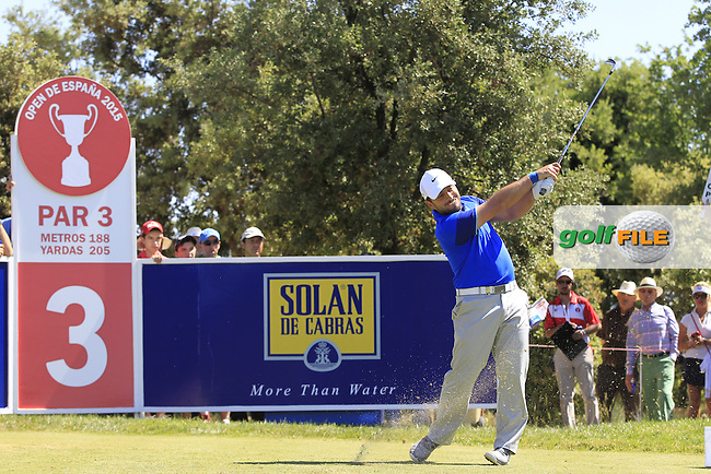 Francesco Molinari (ITA) on the 3rd tee during Round 2 of the Open de Espana  in Club de Golf el Prat, Barcelona on Friday 15th May 2015.<br /> Picture:  Thos Caffrey / www.golffile.ie