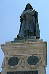 Statue of the philosopher Giordano Bruno in the Campo de Fiori in the Parione district of Rome.