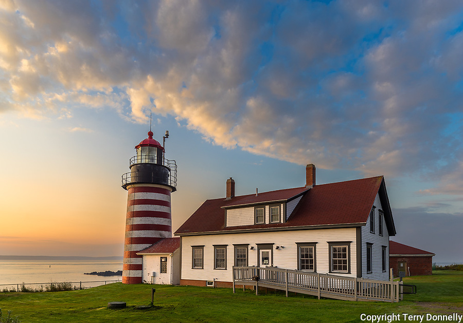 Lubec, Maine:<br /> West Quoddy Head Light at dawn
