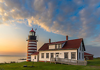 Lubec, Maine:<br /> West Quoddy Head Light at dawn