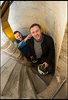 BNPS.co.uk (01202 558833)<br /> Pic: TomWren/BNPS<br /> <br /> Clerk of the Works, Gary Price (right) and Ecclesiastical carpenter Richard Pike climb th narrow stairs to the bell level.<br /> <br /> How many men does it take to change a lightbulb... at the top of Britain's tallest spire.<br /> <br /> When your office is Salisbury Cathedral the simple task of changing a light bulb involves four men, a 404ft climb and takes three hours.<br /> <br /> Ecclesiastical carpenter Richard Pike needed a head for heights when he joined Gary Price, who is in charge of conservation, to make the daring ascent with two rope specialists to ensure their safety. <br /> <br /> Despite working at the cathedral for 27 years, it was the first time Richard has ever made the hair-raising climb.