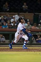 Scottsdale Scorpions center fielder Desmond Lindsay (1), of the New York Mets organization, hits a home run during an Arizona Fall League game against the Salt River Rafters at Scottsdale Stadium on October 12, 2018 in Scottsdale, Arizona. Scottsdale defeated Salt River 6-2. (Zachary Lucy/Four Seam Images)