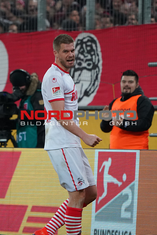 08.02.2019, RheinEnergieStadion, Koeln, GER, 2. FBL, 1.FC Koeln vs. FC St. Pauli,<br />  <br /> DFL regulations prohibit any use of photographs as image sequences and/or quasi-video<br /> <br /> im Bild / picture shows: <br /> 4:1 durch Simon Terodde (FC Koeln #9), Torjubel / Jubel / Jubellauf,    <br /> <br /> Foto &copy; nordphoto / Meuter