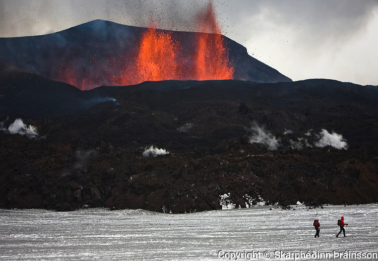 Erupting volcano in Fimmvörðuháls/Eyjafjallajökull, south Iceland, April 2010