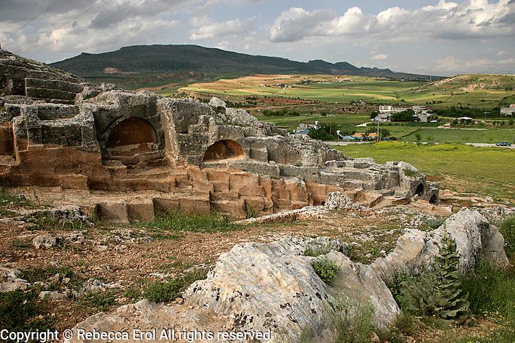 Rock-cut tombs of the ancient city of Perre near Adiyaman, Turkey