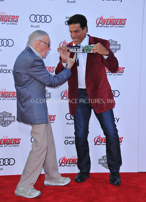 WWW.ACEPIXS.COM<br /> <br /> April 13 2015, LA<br /> <br /> Stan Lee (L) and Lou Ferrigno arriving at the Premiere Of Marvel's 'Avengers: Age Of Ultron' at the Dolby Theatre on April 13, 2015 in Hollywood, California.<br /> <br /> <br /> By Line: Peter West/ACE Pictures<br /> <br /> <br /> ACE Pictures, Inc.<br /> tel: 646 769 0430<br /> Email: info@acepixs.com<br /> www.acepixs.com