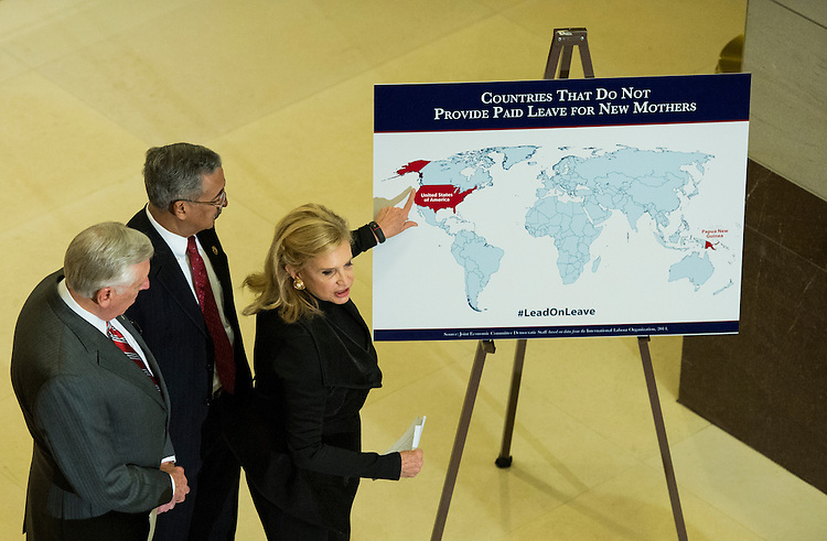 UNITED STATES - JANUARY 26: From left, House Minority Whip Steny Hoyer, D-Md., Rep. Bobby Scott, D-Va., and Rep. Carolyn Maloney, D-N.Y., participate in the House Democrats' news conference to announce the reintroduction of the Federal Employees Paid Parental Leave Act on Monday, Jan. 26, 2015. (Photo By Bill Clark/CQ Roll Call)