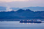 Oil tanker and refinery, Tiburon Uplands Nature Preserve, Tiburon, Bay Area, California