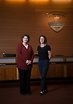 Poulsbo Mayor Becky Erickson and Kimberly Hendrickson, Behavioral Health Outreach program manager, at Poulsbo City Hall Jan. 17, 2018. Photo by Daniel Berman.