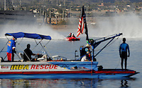 Nov. 22, 2008; Chandler, AZ, USA; IHBA rescue personnel watch boats race during the Napa Auto Parts World Finals at Firebird Lake. Mandatory Credit: Mark J. Rebilas-
