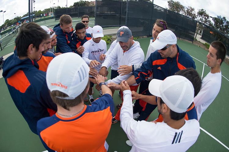 April 26, 2014; San Diego, CA, USA; Pepperdine Waves men's tennis team during the finals of the WCC Tennis Championships at Barnes Tennis Center.