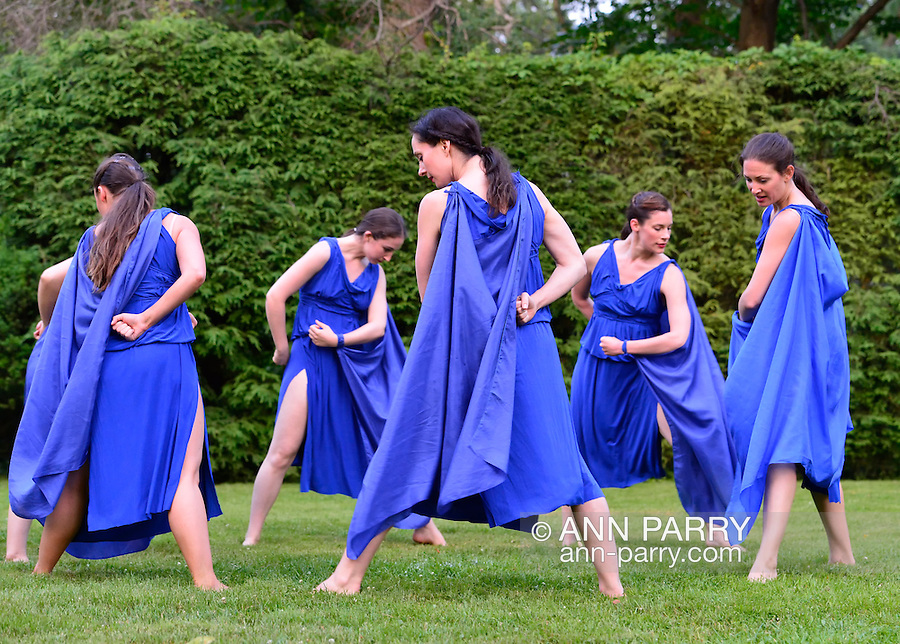 Old Westbury, New York, U.S. 22nd June 2013. Midsummer Night at Old Westbury Gardens, with dances by Lori Belilove and The Isadora Duncan Dance Company, with appearance by The Beliloveables, performed throughout the grounds of the historic Long Island Gold Coast estate, including the Reflecting Pool, Pond, Gardens, Milo Statue, and South Terrace in front of the mansion.