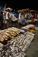 """Peixes de vários tipos são vendidos na """"pedra"""" do Ver o Peso, o mais antigo mercado de Belém."""