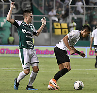 PALMIRA - COLOMBIA, 21-08-2019: xAgustin Palavecinoxx del Cali disputa el balón con Daniel Muñoz de Nacional durante partido entre Deportivo Cali y Atlético Nacional por la fecha 7 de la Liga Águila II 2019 jugado en el estadio Deportivo Cali de la ciudad de Palmira. / Agustin Palavecino of Cali vies for the ball with Daniel Muñoz of Nacional during match between Deportivo Cali and Atletico Nacional for the date 7 as part Aguila League II 2019 played at Deportivo Cali stadium in Palmira city. Photo: VizzorImage / Gabriel Aponte / Staff