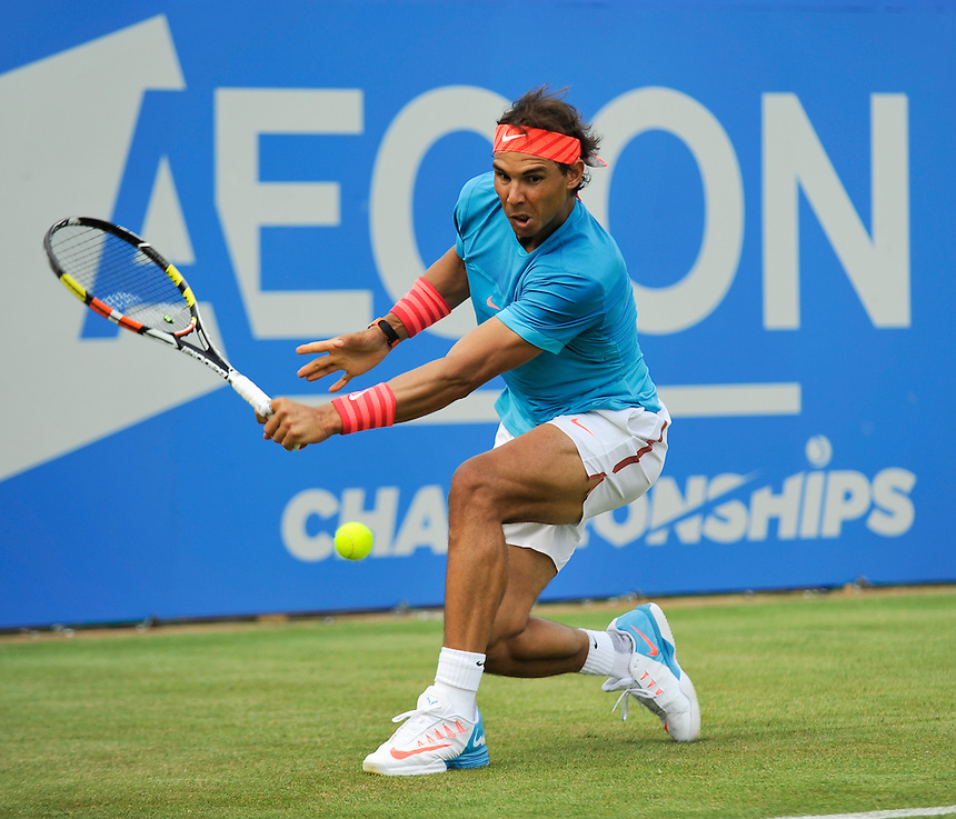 Rafael Nadal (ESP) in action today during his defeat by Alexandr Dolgopolov (UKR) in their Men&rsquo;s Singles Second Round match<br /> <br /> 3-6, 7-6, 4-6<br /> <br /> Photographer Ashley Western/CameraSport<br /> <br /> Tennis - ATP 500 World Tour - AEGON Championships- Day 2 - Tuesday 16th June 2015 - Queen's Club - London <br /> <br /> &copy; CameraSport - 43 Linden Ave. Countesthorpe. Leicester. England. LE8 5PG - Tel: +44 (0) 116 277 4147 - admin@camerasport.com - www.camerasport.com