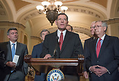 United States Senator John Barrasso (Republican of Wyoming) makes remarks following the Republican Party policy luncheon in the US Capitol in Washington, DC on Tuesday, January 23, 2018.  Pictured from left to right: US Senator Cory Gardner (Republican of Colorado), Us Senator Roy Blunt (Republican of Missouri), Senator Barrasso, US Senator JohnThune ( (Republican of South Dakota), US Senator John Cornyn (Republican of Texas), and US Senate Majority Leader Mitch McConnell (Republican of Kentucky).<br /> Credit: Ron Sachs / CNP