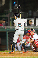 Adrian Marin (6) of the Delmarva Shorebirds at bat against the Hagerstown Suns at Municipal Stadium on April 11, 2013 in Hagerstown, Maryland.  The Shorebirds defeated the Suns 7-4 in 10 innings.  (Brian Westerholt/Four Seam Images)