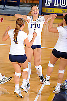 13 November 2010:  FIU's Andrea Lakovic (1) celebrates winning a point in the first set as the FIU Golden Panthers defeated the South Alabama Jaguars, 3-0 (25-12, 25-12, 25-20), at U.S Century Bank Arena in Miami, Florida.