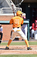 Tennessee Volunteers designated hitter Benito Santiago (31) awaits a pitch during a game against the South Carolina Gamecocks at Lindsey Nelson Stadium on March 18, 2017 in Knoxville, Tennessee. The Gamecocks defeated Volunteers 6-5. (Tony Farlow/Four Seam Images)