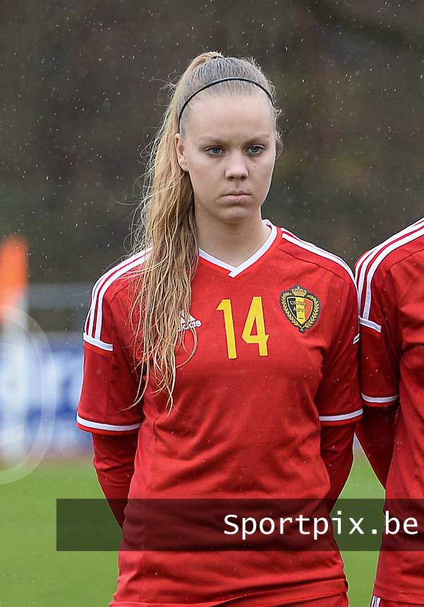 20150404 - FORST , GERMANY  : Belgian Tabitha Lingier pictured during the soccer match between Women Under 19 teams of Belgium and Ukraine , on the first matchday in group 5 of the UEFA Elite Round Women Under 19 at WaldseeStadion , Forst , Germany . Saturday 4th April 2015 . PHOTO DAVID CATRY