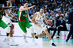 Real Madrid Fabien Causeur and Kirolbet Baskonia Matt Janning during Turkish Airlines Euroleague match between Real Madrid and Kirolbet Baskonia at Wizink Center in Madrid, Spain. October 19, 2018. (ALTERPHOTOS/Borja B.Hojas)