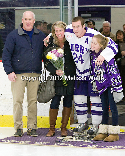Michael Curran (Curry - 24) - The Curry College Colonels defeated the Johnson & Wales University Wildcats 5-4 on Curry's senior night on Saturday, February 18, 2012, at Max Ulin Rink in Milton, Massachusetts.