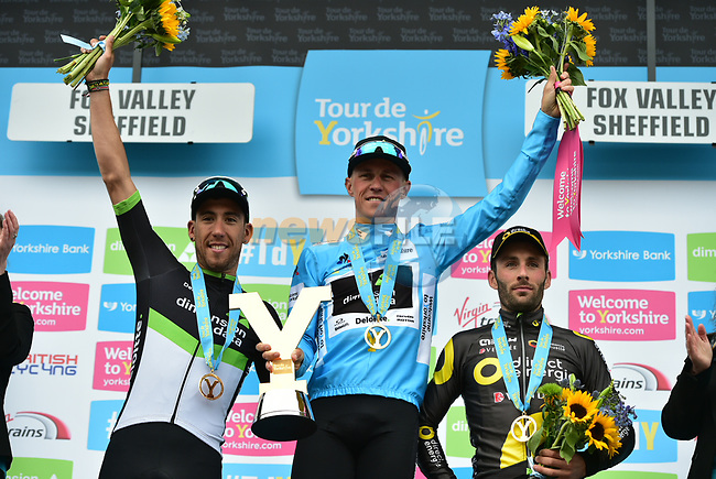 The final podium of the Tour de Yorkshire 2017 Serge Pauwels (BEL) blue jersey overall classification and Omar Fraile (ESP) Team Dimension Data 2nd and Jonathan Hivert (FRA) Direct Energie 3rd at the end of Stage 3 of the Tour de Yorkshire 2017 running 194.5km from Bradford/Fox Valley to Sheffield, England. 30th April 2017. <br /> Picture: ASO/P.Ballet | Cyclefile<br /> <br /> <br /> All photos usage must carry mandatory copyright credit (&copy; Cyclefile | ASO/P.Ballet)
