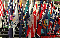 Grand Old Day Parade showing various flags around the world. St Paul Minnesota USA