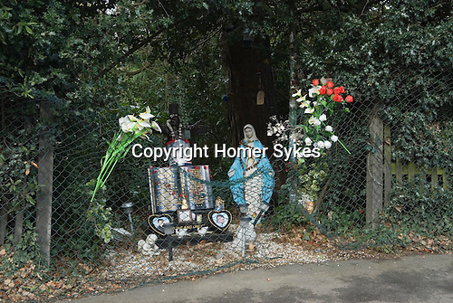 Roadside Catholic shrine to your person killed in car accident. Sydenham Hill South London UK