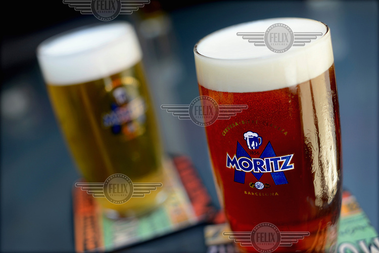Example of a toasted beer and a lager beer at the Moritz Brewery. /Felix Features
