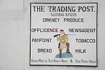 Local Shop Sign in St Margarets Hope on South Ronaldsay Island, Orkney Islands, Scotland