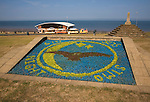 Floral display and seafront at Hunstanton, north Norfolk, England