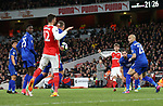 Leicester's Robert Huth scoring an own goal during the Premier League match at the Emirates Stadium, London. Picture date: April 26th, 2017. Pic credit should read: David Klein/Sportimage