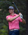 Beau Hossler hits a drive on the 15th tee during the Barracuda Championship PGA golf tournament at Montrêux Golf and Country Club in Reno, Nevada on Sunday, July 28, 2019.