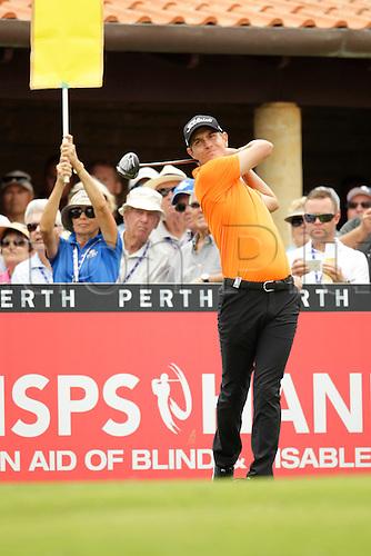 28.02.2016. Perth, Australia. ISPS HANDA Perth International Golf. Jason Scrivener (AUS) tees off for his final round
