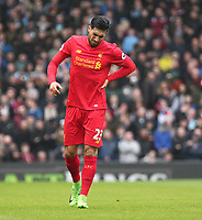 Liverpool's Emre Can struggles following a crunching tackle<br /> <br /> Photographer Rich Linley/CameraSport<br /> <br /> The Premier League - Liverpool v Burnley - Sunday 12 March 2017 - Anfield - Liverpool<br /> <br /> World Copyright &copy; 2017 CameraSport. All rights reserved. 43 Linden Ave. Countesthorpe. Leicester. England. LE8 5PG - Tel: +44 (0) 116 277 4147 - admin@camerasport.com - www.camerasport.com