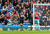 10th September 2017, Turf Moor, Burnley, England; EPL Premier League football, Burnley versus Crystal Palace; Joel Ward of Crystal Palace makes a diving header to clear the ball from the goal line and Robbie Brady of Burnley who is ready to pounce