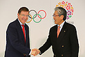 (L to R) Gilbert Felli, Tsunekazu Takeda, NOVEMBER 15, 2013 : International Olympic Committee (IOC) Executive Director Gilbert Felli and Japanese Olympic Committee (JOC) President Tsunekazu Takeda pose for photographer during the press conference after the IOC/Tokyo 2020 Orientation Seminar for Tokyo Olympic Games 2020 at JISS, Tokyo, Japan. (Photo by Yusuke Nakansihi/AFLO SPORT) [1090]