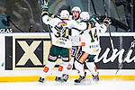 Stockholm 2014-01-18 Ishockey SHL AIK - F&auml;rjestads BK :  <br /> F&auml;rjestads Martin R&ouml;ymark har gjort 3-2 och jublar med lagkamrater F&auml;rjestads Magnus Nygren och F&auml;rjestads Oliver Kylington <br /> (Foto: Kenta J&ouml;nsson) Nyckelord:  jubel gl&auml;dje lycka glad happy