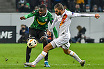 07.11.2019, Borussia-Park - Stadion, Moenchengladbach, GER, EL, Borussia Moenchengladbach vs. AS Roma, UEFA regulations prohibit any use of photographs as image sequences and/or quasi-video<br /> <br /> im Bild Marcus Thuram  (#10, Borussia Moenchengladbach) Davide Santon (#18, AS Roma) <br /> <br /> Foto © nordphoto/Mauelshagen