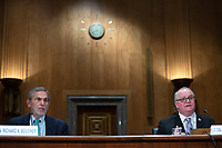 Richard Boucher, Former United States Ambassador to Cyprus and Senior Fellow at the Watson Institute for International and Public Affairs, and Lt. Col. Daniel L. Davis, Senior Fellow and Military Expert, testify before the U.S. Senate Subcommittee on Federal Spending Oversight and Emergency Management at the United States Capitol in Washington D.C., U.S. on Tuesday, February 11, 2020.  <br /> <br /> Credit: Stefani Reynolds / CNP/AdMedia
